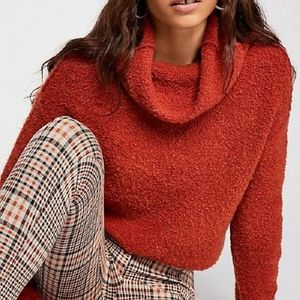 Free People TERRACOTTA Stormy Cowl Neck Sweater